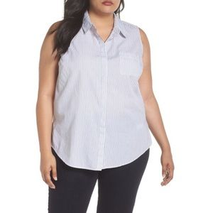 Sejour Sleeves Cotton Button Front Top Size 14W